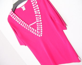 Hot Pink Knitted V-Neck Sweater Top By Evelyn Accented with Pearls and Faux Stones Summer Resort Cruise Wear