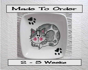 Grey & White Cat with Paw Prints On Square Ceramic Dish / Bowl Hanmade To Order by GMS