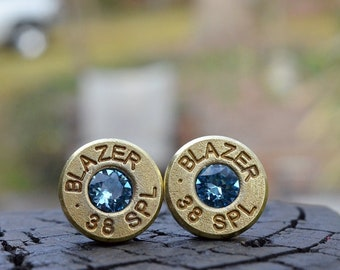 Bullet Earrings stud or post, Blazer .38 Special with Swarovski crystals