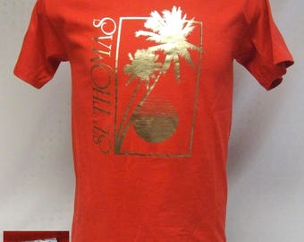 Vintage 80s St. Thomas Virgian Islands Red & Gold Hanes 50/50 Blend T-Shirt Mint