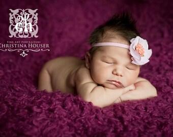 Pink & White Chiffon Flower Headband Preemie Infant Toddler Big Girl Shabby Chic Headband Photo prop