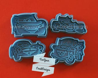Race Cars Plunger Cookie Cutters with Stamp. 4 plastic pieces set. For