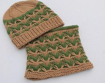 Men Bicolor Hat and Cowl Set, Hand Knit Men Hat, Hand Knit Men Cowl, Knit Brown and Green Hat Cowl Set