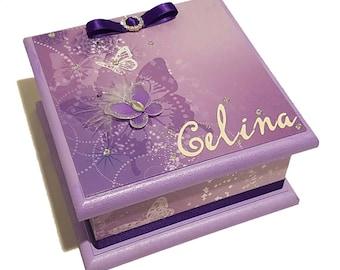 Purple Butterflies Keepsake Box, Treasure Box, Trinket Box, Memory Box, Jewellery Box, Wooden Box, Personalised Box