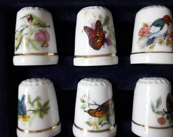 french vintage - Collection of 6 thimbles earthenware - butterflies and birds pattern