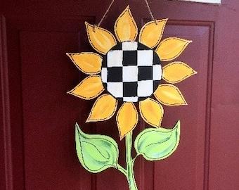 Sunflower Door Hanger, Whimsical Black and White check, LARGE Flower, Sunflower Decor, Whimsical, Door Hanger, Summer Door Hanger
