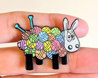Ewe knit!, Cute sheep enamel pin, pin badge, Knitters gift, Knitting gift, lapel pin, funny badge, cute badge, Yarn, Sheep gift, Wool gifts