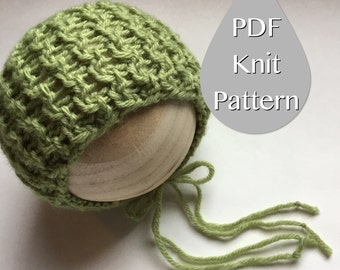 PDF Knit Pattern #0044 The Devyn Knit Bonnet, Newborn,Knit PDF Pattern,Tutorial,Knit Pattern,Intermediate,Video,Instruction,Newborn,Beginner