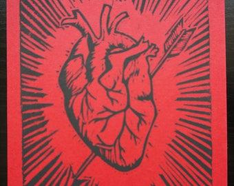 Corazon - block printed anatomical heart postcard