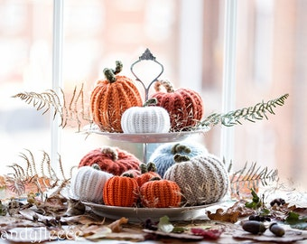 Thanksgiving Table Decor 5 or 10 Knitted Pumpkins Rustic Knit Decoration Modern Farmhouse Decor Fall Autumn Harvest Ornament Gift Set