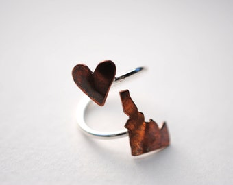 Idaho Twist Place Ring (Sterling Silver & Copper Place State Love Map Ring)
