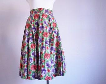 Rare 50's skirt 1950's Vintage skirt Dahlias Novelty Print skirt High waist cotton skirt Hand made Party skirt medium / B1