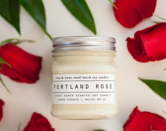 Portland Rose Candle -  All Natural Oregon Soy Candle - Rose Candle - Oregon Candle - Natural Candle - Ready to Ship Gift -Mothers day gift