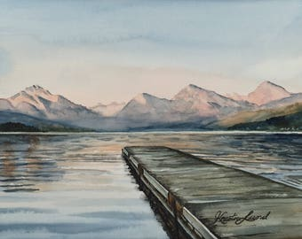 Mountain Dock - Original watercolor painting