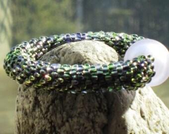 Violet bead crochet bracelet......FREE SHIPPING