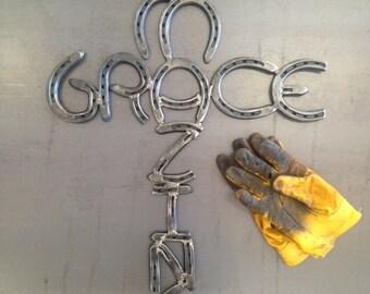 Amazing Grace Horseshoe Cross