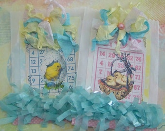 Easter Treat Bags Easter Basket Filler Easter Candy Bags Easter Gift Bags Vintage Shabby Cottage Chic Style - Set of 2