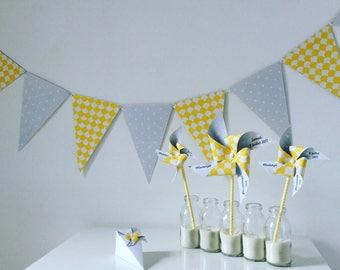 Garland pennants grey & yellow