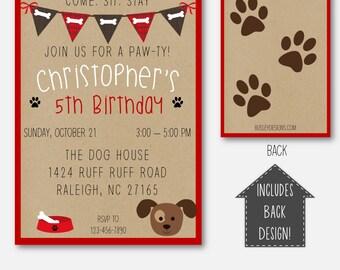 Puppy Party Birthday Invitation Dog Theme Themed