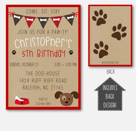 Puppy party puppy birthday invitation puppy party like this item filmwisefo Choice Image