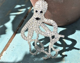 Stunning, Octopus Pin or Brooch w Sapphires & Crystals Set in Sterling Silver