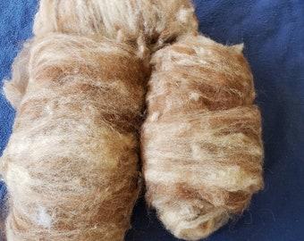 Carded Alpaca Fiber - Mixed Brown and Fawn    CRAFT FIBER