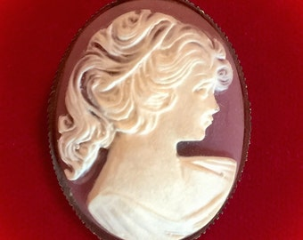 Vintage cameo brooch pin victorian woman silhouette fashion jewelry sale