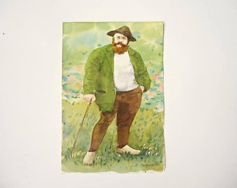 Claude Monet  artist   original   watercolor   painting