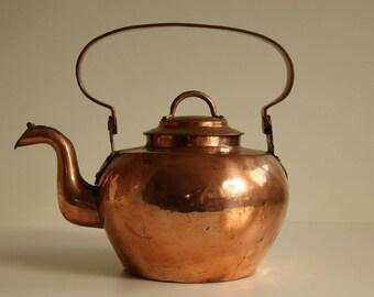 Antique Copper Apple Water Kettle (ca. 1820-1840, 19thC)
