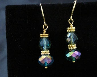 Teal Crystal Earrings -Special Occasion Earrings - Gift for Her - Mother's Day - Gold plated spacer beads and ear wires