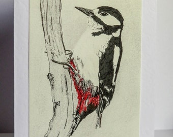 Blank Greetings Card Watchful Woodpecker bird drawing