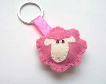 Pink Felt sheep keychain - white sheep - lamb - felt accessories - eco friendly - gift for her - key holder - felt animals