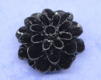 Black Dahlia flower resin cabochons