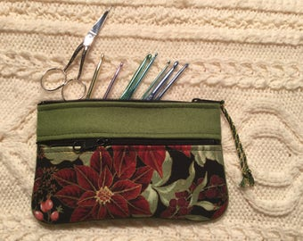 Wool & Batik 2-zipper Clutch, purse, crochet hook case, organizer, gift for her