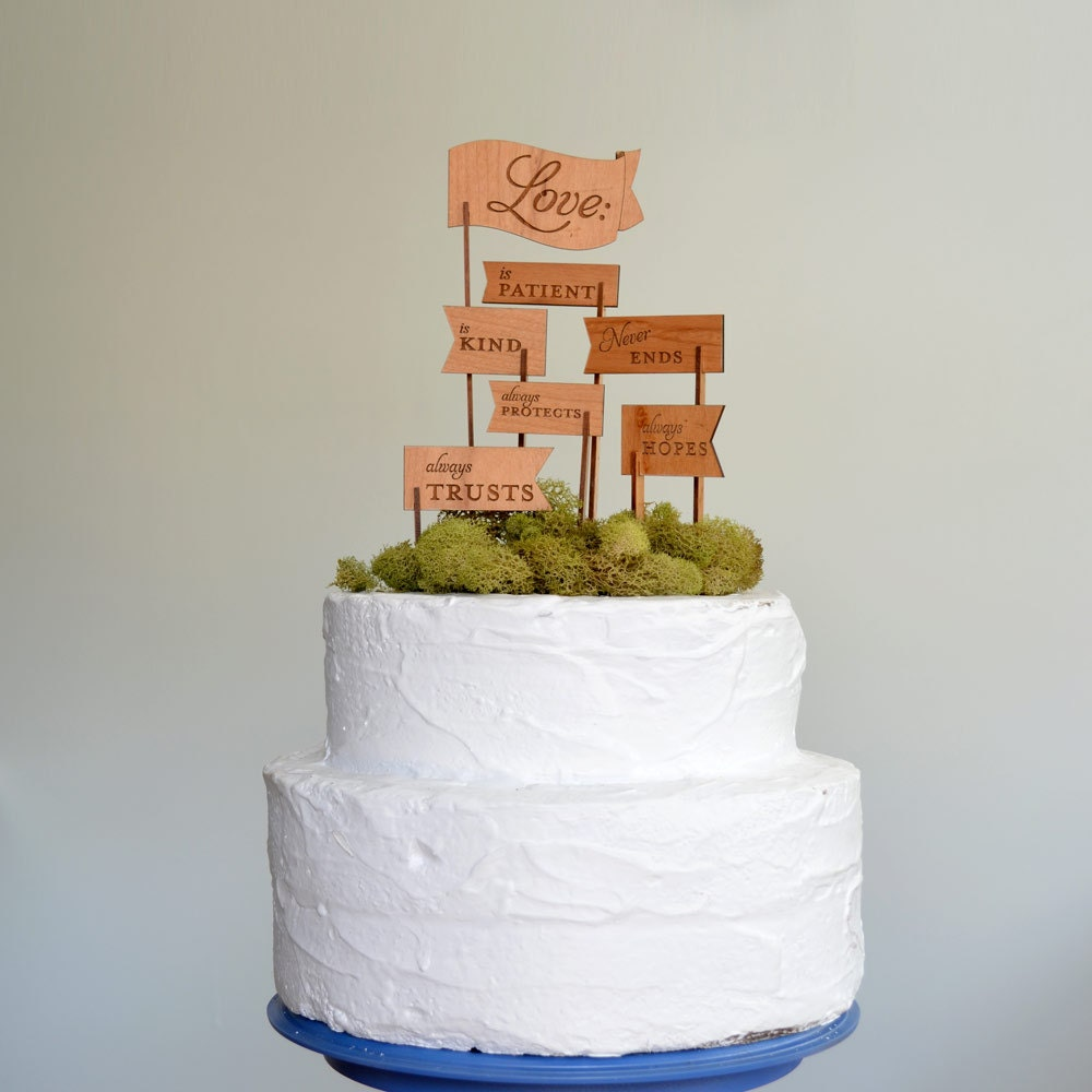 Love Is Patient Love Is Kind Keepsake Wooden Cake Topper