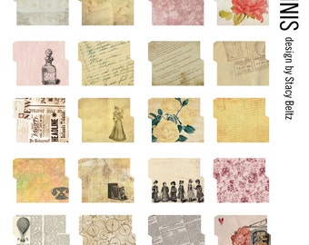 30 Vintage Mini File Folders Digital Print