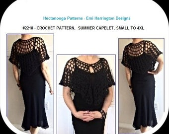 Crochet Patterns, Black Summer Capelet, for PROM, formal or casual wear, women and teens, plus size, Easy pattern, #2218, crochet for women