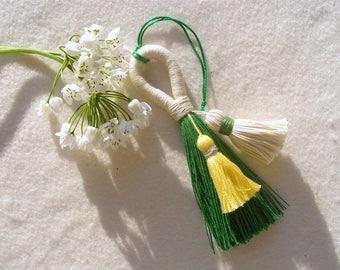 Tassel Purse charm, Green White Pom Pom Charm, Spring Colors Bag Accessory, Green Tassel Bag Charm, Mother's Day Gift
