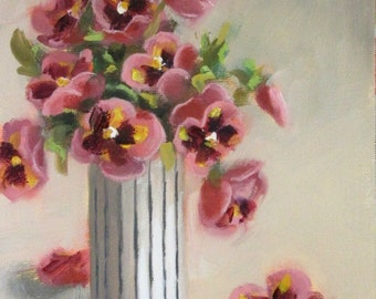 Pansy Dandy...Original Oil Painting by Maresa Lilley, SND