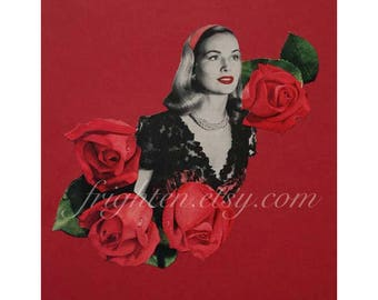 Valentine's Day Art, Red and Black Bedroom Decor, One of a Kind Paper Collage, 8.5 x 11 Inch Retro Decor, Red Roses Art