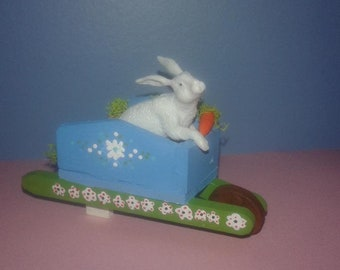 Miniature 1:12 Scale Rabbit in Small Wheelbarrow