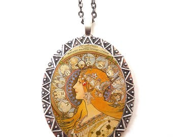 Alphonse Mucha Necklace Pendant Silver Tone - Art Nouveau Gypsy Boho Bohemian Edwardian Zodiac Astrological