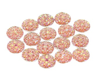 14mm Iridescent Blush Pink Faux Druzy Crystal Clusters Cabochons Small DIAMOND Nuggets