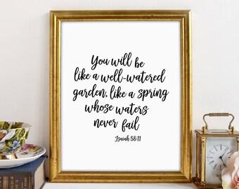 Bible Verse Sign, Christian Wall Art, Christian Bible Verse Wall Art, Christian Art, Isaiah 58 11, Well Watered Garden, Bible Verse Print