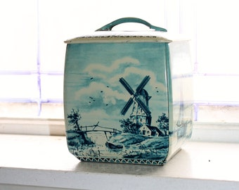 Vintage Blue and White Delft Style Biscuit Tin Cookie Jar West Germany