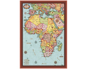 AFRICA Aantique Map 3G- Travel Art Map Wall Decoration , Print or Digital Poster, Anniversary Gift- FREE SHIPPING