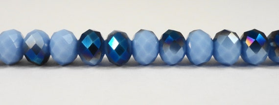 "Rondelle Crystal Beads 6x4mm Opaque Periwinkle Blue Half Metallic Crystal Beads Chinese Crystal Glass Beads on a 8 1/2"" Strand with 50 Beads"