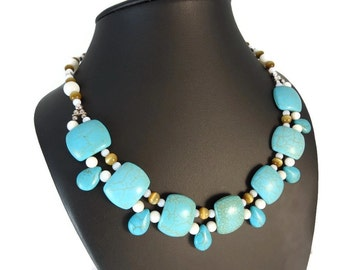 Aqua Blue and White Multistrand Necklace Sterling Silver, Turquoise Bib Necklace Magnesite Beads, Blue Statement Necklace Multi Strand Tan