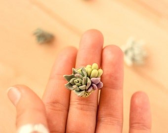 Succulent ring Green mint ring Gift for her Polymer clay succulent Christmas Gift for sister nature jewelry Mini Succulent Planter Greenery