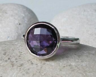 Simple Purple Amethyst Ring- Round Amethyst Ring- Purple Stone Ring- Faceted Stone Ring- Sterling Silver Ring- February Birthstone Ring